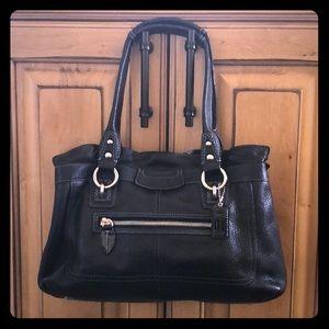 Coach F14686 Penelope In Slvr/Blk Pebbled leather